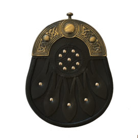 121089 Black Leather Sporran with Brass Cantle FDS-04